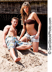 Couple in bathing clothes - Beautiful sexy fashion couple,...