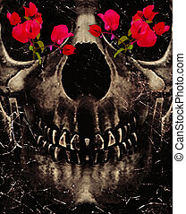 Death and Flowers - Dark photo collage concept artwork...