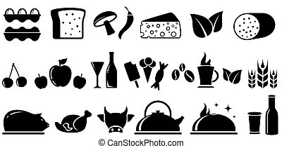set food isolated objects - set black food isolated objects...