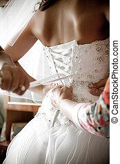 tiro, dama honra, amarrando, colete, nupcial, Vestido