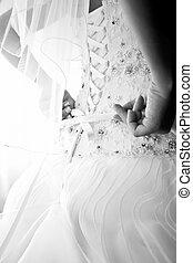 colete, foto, Noiva, amarrando, casório, Vestido