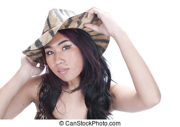 pretty asian gil in hat