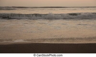 Waves at Ocean with Sound - video footage of a beach with...