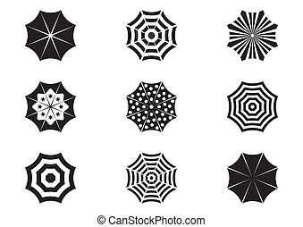 Umbrella icons - Set of various black sun umbrella icons...