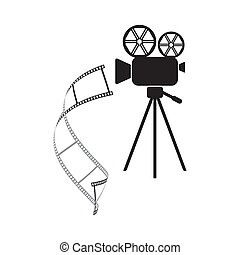 Movie camera icon - Black retro movie camera with curl film...