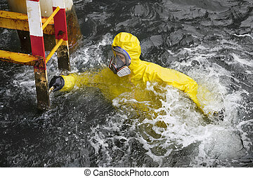 rescue action - man in water - worker in professional,...