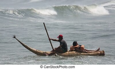 Caballito de totora, typical boats in Trujillo, Peru - video...