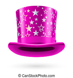Top Hat - Pink top hat with white stars on the white...