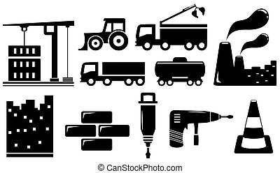 set industrial objects and tools