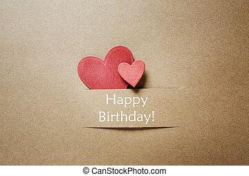 papel, corações, aniversário, cartão, Feliz