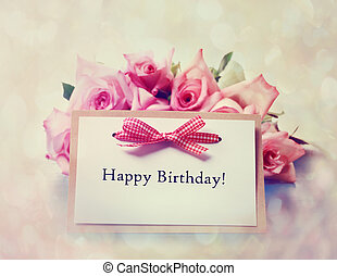 Happy Birthday card with retro pink roses - Happy Birthday...