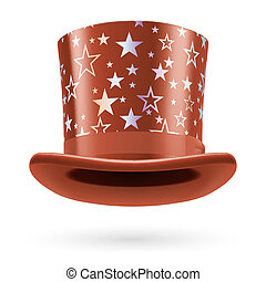Top hat - Brown top hat with white stars on the white...