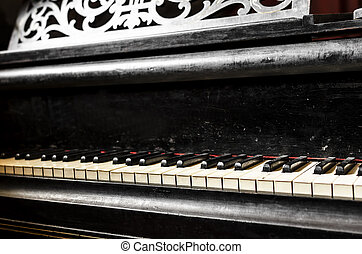 Old piano - Detail of old and dirty piano keyboard