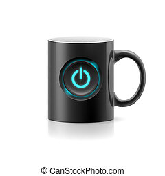 Cup - Black cup with picture switch on  white background