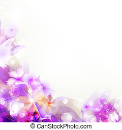 Abstract artistic Background with purple floral element -...