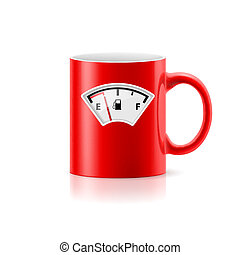 Cup - Red cup with picture component of gasoline on white...