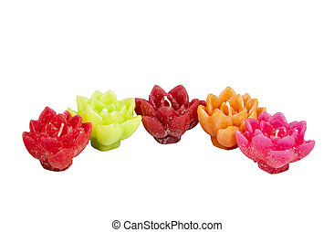 Five Minature Candles in Assorted Bright Colors - five...