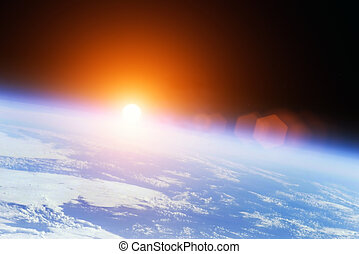 universe sunrise - Earth with rising Sun outer illustration