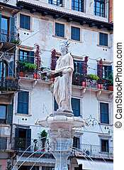 Piazza delle Erbe, Verona, Italy - Fountain of our Lady...