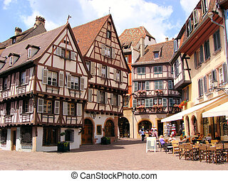 Quaint houses of Colmar - Picturesque square in the Alsatian...