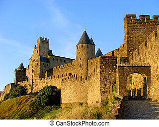 Castle at Carcassonne - The castle of Carcassonne, France at...