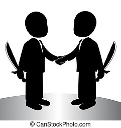handshake - image of a back stabbing , betray