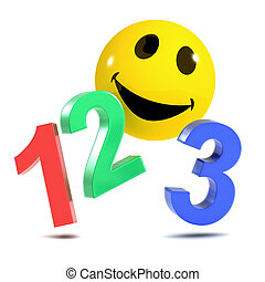 3d Smiley 123 - 3d render of a smiley counting to 3