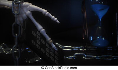 human skeleton with a remote contro