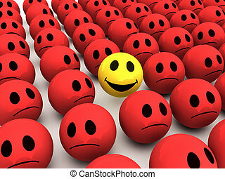 3d Smiley stands out from the crowd - 3d render of a smiley...