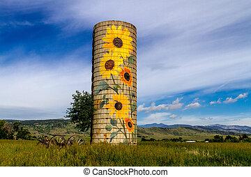 Rural Ranch Sunflower Farm Silo - Rural farm silo with...