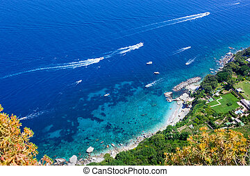 View of the coast of the island of Capri, Italy
