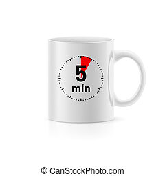 Cup - White cup with picture timer on background