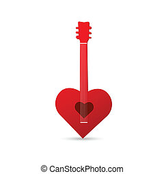 Guitar Heart Design - Illustration of an abstract heart...