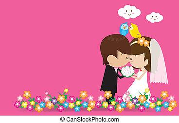 Bride and Groom V2 004 - Bride and Groom Vector cartoon