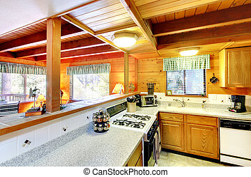 Kitchen interior in log cabin house