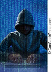 Man Wearing Balaclava Hacking Laptop - Digital composite...