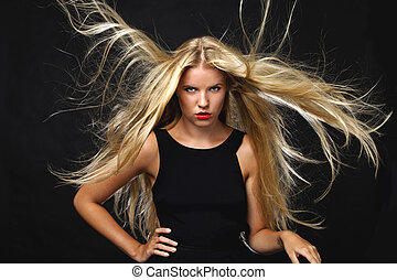 Portrait of beautiful woman hair wild