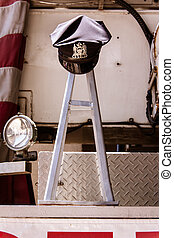 Firefighter memorial - Firefighters hat from 911 in memorial...