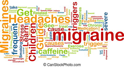 Migraine word cloud - Word cloud concept illustration of...