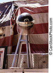 Firefighter memorial - Firefighters helmet from 9/11 in...