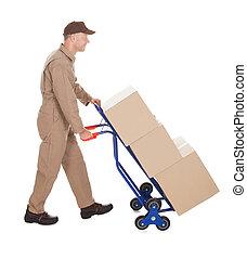 entrega, cartero, Empujar, máquina, en, carrito