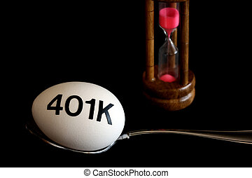 401K Nest Egg - A conceptual picture showing time running...