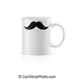 Cup with painted mustache standing on white background
