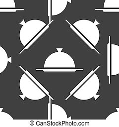 Restaurant cloche web icon flat design Seamless gray pattern...