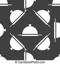 Restaurant cloche web icon. flat design. Seamless gray...