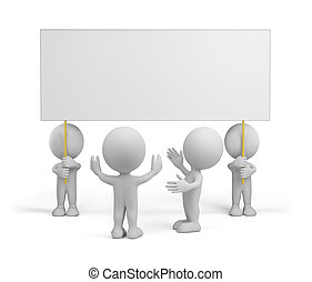 3d people with advertising - People admire advertising. 3d...