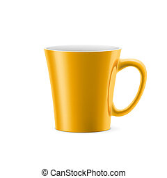 Cup - Orange cup with tapered bottom stay on white...