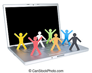 World Wide Web - Several multicolored paper figures over a...