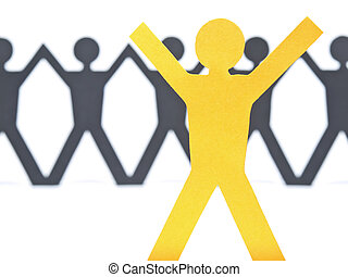 Stop there - A yellow paper figure raising his arms A paper...