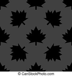 maple Leaf wb icon. flat design. Seamless gray pattern....